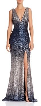 Aqua Sequin V-Neck Gown - 100% Exclusive