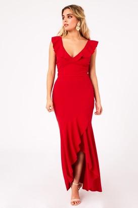 Girls On Film Tammi Red Fishtail Maxi Dress