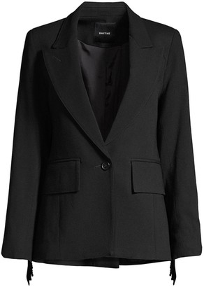 Smythe Fringe Single-Breasted Stretch-Wool Blazer