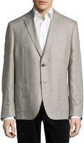 DKNY Herringbone Linen Blazer Jacket, Gray
