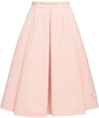 Prada A-line pleated denim midi-skirt