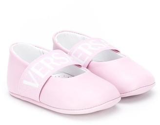 Versace Logo Print Ballerina Shoes