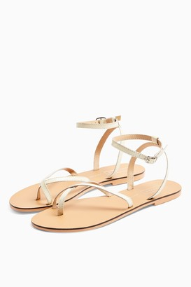 Topshop WIDE FIT PANDA Ecru Leather Sandals