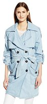BCBGeneration Women's Lightweight Long Belted Denim Trench Coat