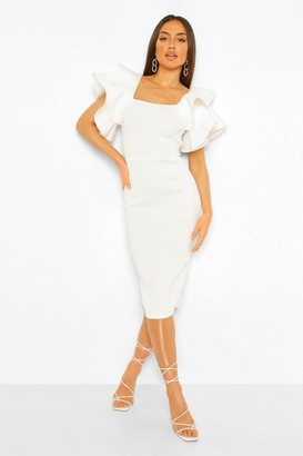 boohoo Bonded Scuba Ruffle Sleeve Midi Dress