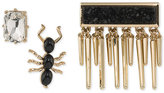 ABS by Allen Schwartz Gold-Tone 3-Pc. Set Crystal, Ant and Druzy Pins