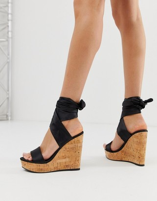 Asos Design DESIGN Twist tie leg cork wedges-Black