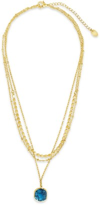 Sterling Forever 14K Gold Plated Beaded Layered Necklace with Square Stone Charm