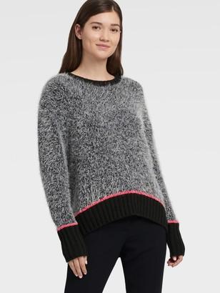 DKNY Contrast Trim Fuzzy Pullover