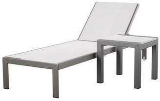 Lrg Mercury Row SLLY Reclining Chaise Lounge with Table Mercury Row Color: White