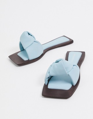 Jeffrey Campbell Jeff-Aeron knotted flat sandal in blue