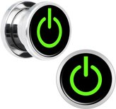 Body Candy Stainless Steel Green Power Button Screw Fit Plug Pair 00 Gauge