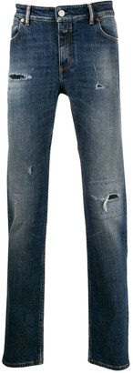 Closed distressed straight-leg jeans