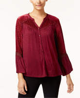 Style&Co. Style & Co Style & Co Petite Velvet-Trim Blouse, Created for Macy's