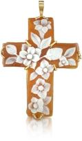 Del Gatto Floral Sardonyx Cameo Cross Pendant