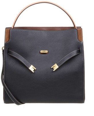 Tory Burch Lee Radziwill Double Bag In Leather And Suede