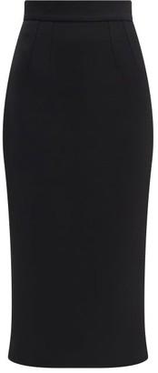 Dolce & Gabbana High-rise Wool-crepe Midi Skirt - Black