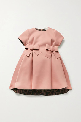 Fendi Kids Bow-embellished Pleated Neoprene Dress - Pink