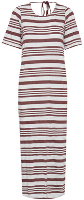 Ichi Andorra Stripe Jersey Dress - XL - White/Red