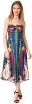 Anna Sui New York Print Pleated Strapless Dress