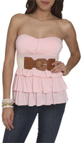 Wet Seal WetSeal Tiered Belted Tube Top White