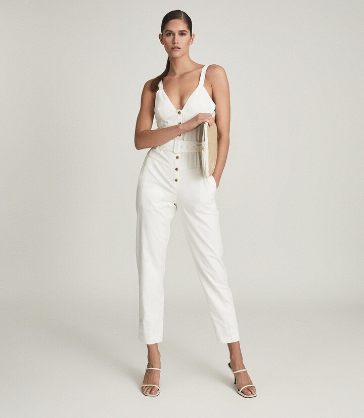 Thumbnail for your product : Reiss Sola - Button Through Jumpsuit in White