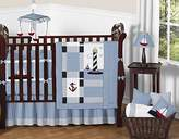Sweet Jojo Designs Come Sail Away Nautical Sail Boat Blue and white Baby Boy Bedding 9pc Crib Set
