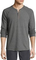 Vince Long-Sleeve Henley Shirt, Heather Carbon