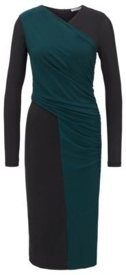 BOSS Long-sleeved jersey dress with two-tone wrap effect