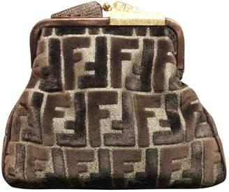 Fendi Brown Velvet Clutch bags