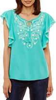 ST. JOHN'S BAY St. John's Bay Short SleeveTie Neck Woven Blouse