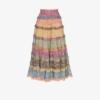 Zimmermann Carnaby tiered silk midi skirt
