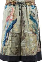 Dries Van Noten macaw print shorts