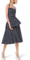 Michael Kors Silk Dot Ruched Peplum Halter Dress
