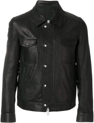 Ami Grained Leather Zipped Jacket