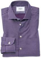 Charles Tyrwhitt Slim Fit Semi-Spread Collar Business Casual Non-Iron Modern Textures Blue and Pink Cotton Dress Casual Shirt Single Cuff Size 15/33