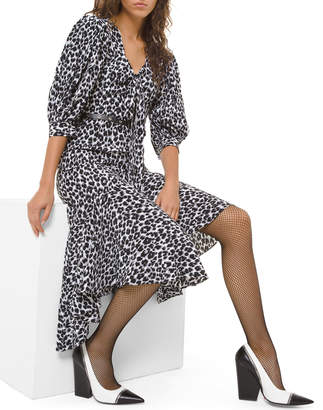 Michael Kors Leopard-Print Silk Asymmetric Dress