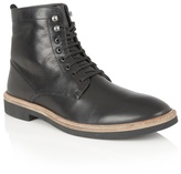 Frank Wright Black Leather 'munros' Lace Up Boots