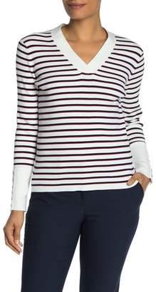 Tommy Hilfiger Striped Ribbed Knit V-Neck Sweater