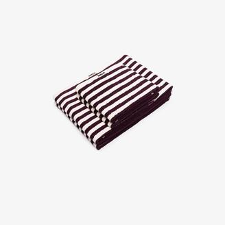 Tekla Burgundy Striped Organic Terry Cotton Towel Set