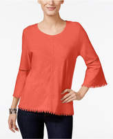Style&Co. Style & Co Petite Crochet-Trim Lantern-Sleeve Top, Only at Macy's