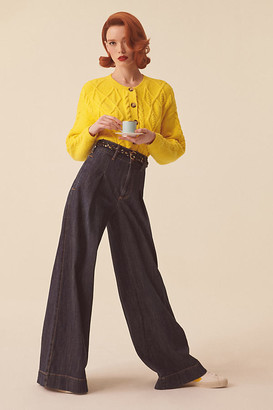Pilcro And The Letterpress Pilcro Ultra High-Rise Pleated Trouser Jeans By in Blue Size 24