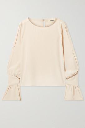 L'Agence Gianne Ruffled Silk-crepe Blouse - Cream