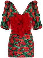 Gucci Flower-embellished ruched silk mini dress