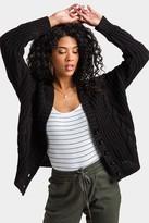 francesca's Lexxy Button Cable Knit Cardigan - Black