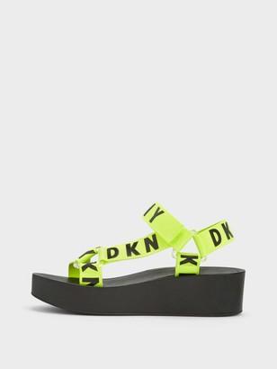 DKNY Women's Ayli Multi Strap Sandal - Neon Green - Size 6