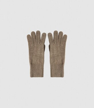 Reiss Georgia - Cashmere Gloves in Camel