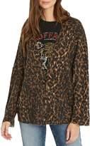 Buffalo David Bitton Leopard-Print Button-Front Cardigan