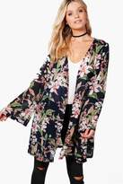 boohoo Rosie Floral Chiffon Kimono navy
