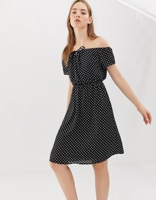 B.young spotty bardot dress-Black